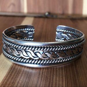 Vintage Sterling Bracelet Cuff Heavy duty